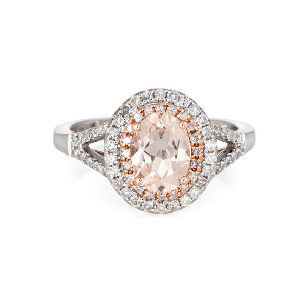 Morganite Diamond Ring Double Halo 14k White Gold Estate Fine Jewelry Sz 6