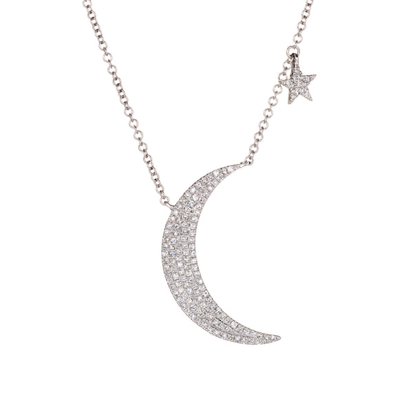 Diamond Crescent Moon Star Necklace 14k White Gold Fine Celestial Jewelry