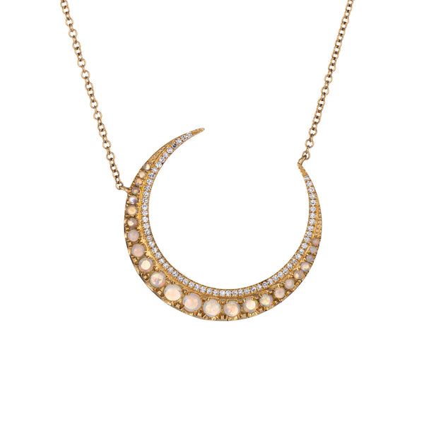 Opal Diamond Crescent Moon Necklace 14k Yellow Gold Celestial Fine Jewelry