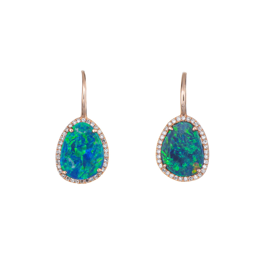 Boulder Opal Diamond Earrings 14k Rose Gold Estate Fine Jewelry Freeform