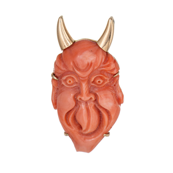 Vintage Carved Coral Pendant Devil Horns 14k Yellow Gold Large Fine Jewelry