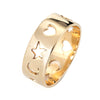 Crescent Moon Star Love Heart Band Sz 10 Vintage 14k Yellow Gold Cut Out Ring