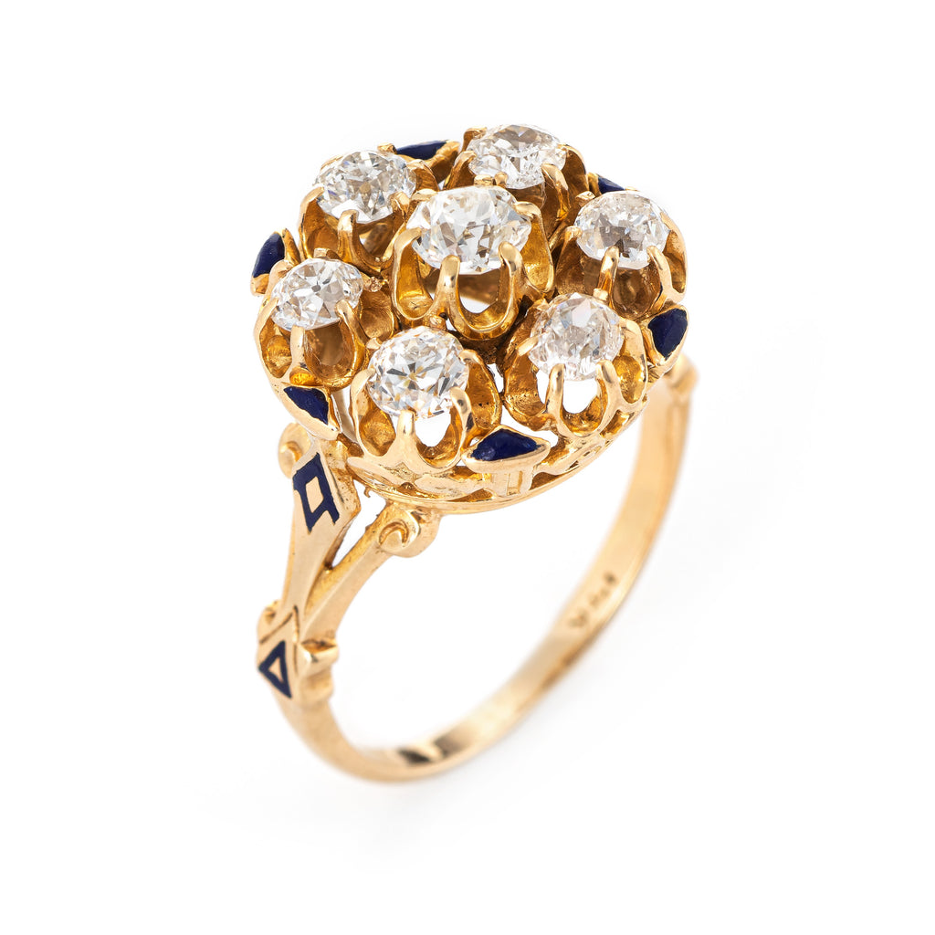 Victorian 1.15ct Diamond Cluster Ring Antique 14k Yellow Gold Round Enamel Sz 7