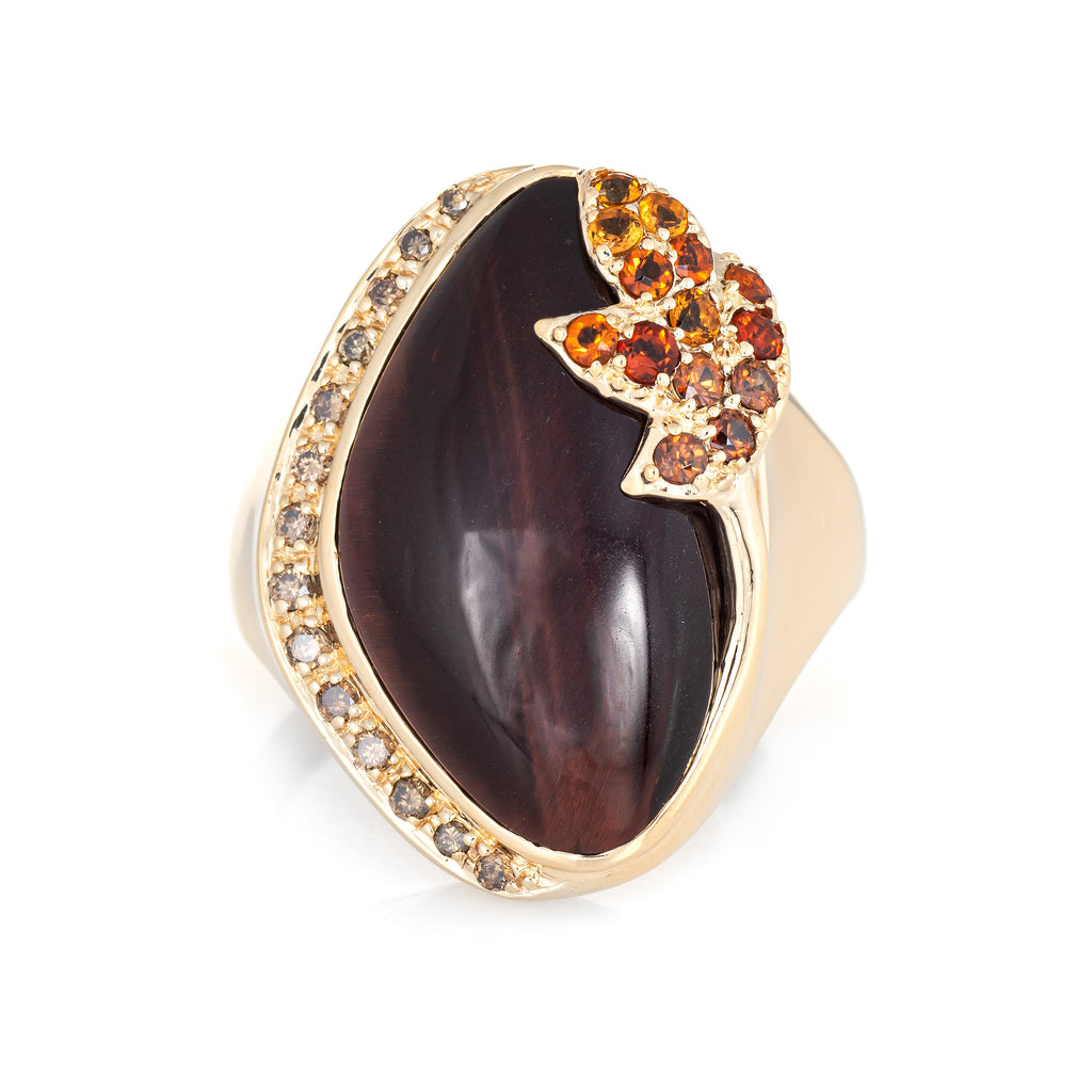 Tigers Eye Citrine Diamond Ring Vintage 14k Yellow Gold Cocktail Jewelry Sz 6.5
