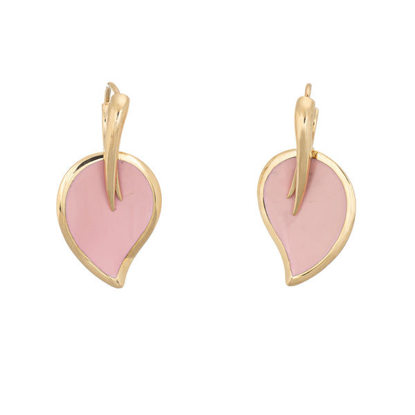 La Nouvelle Bague Earrings Pink Enamel Leaf Estate 18k Yellow Gold Fine Jewelry