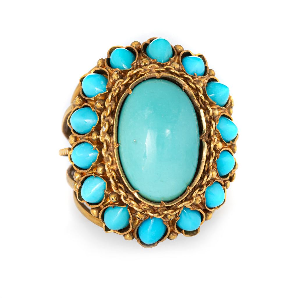Turquoise Cocktail Ring 60s Vintage 18k Yellow Gold Large Oval Estate Jewelry 5