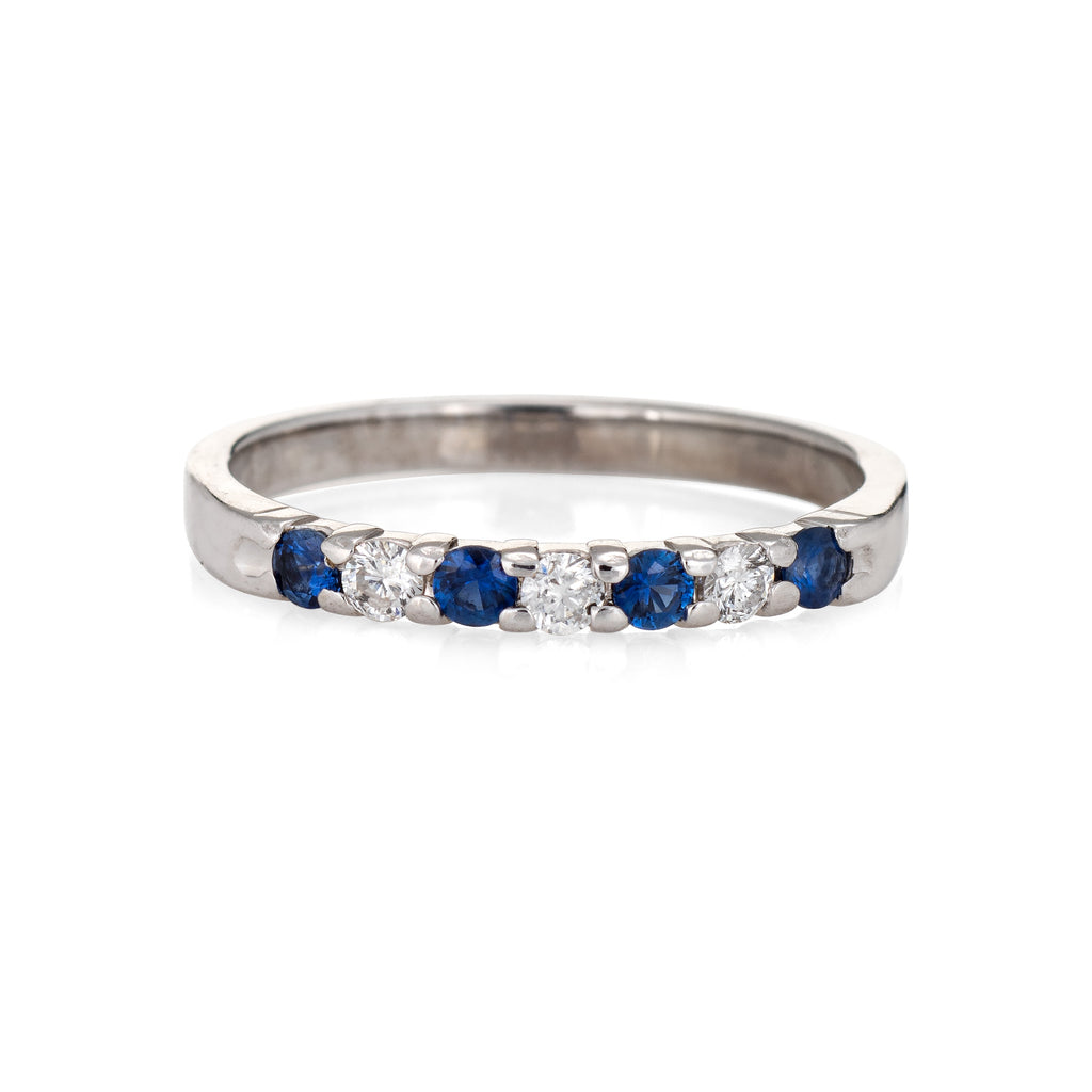 Kuber Diamond Sapphire Band Estate 10k White Gold Ring Fine Jewelry Stacking