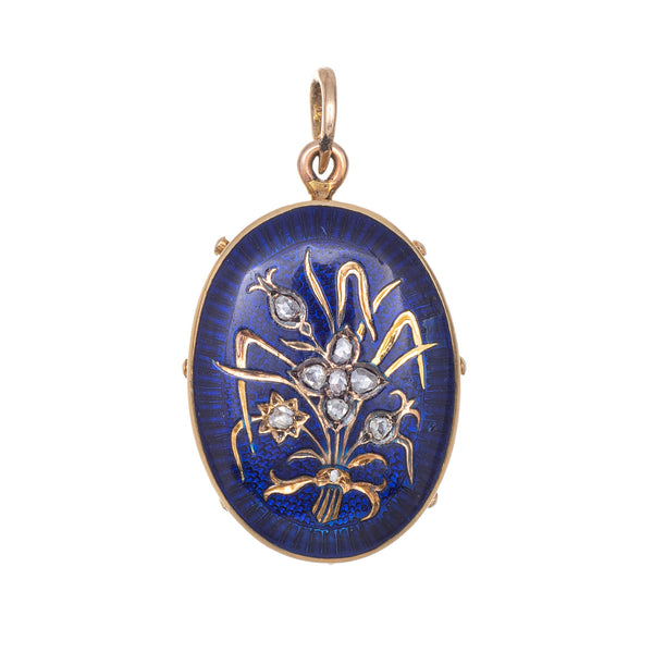 Antique Victorian Pendant Memorial Locket 14k Yellow Gold Enamel Diamond Flower