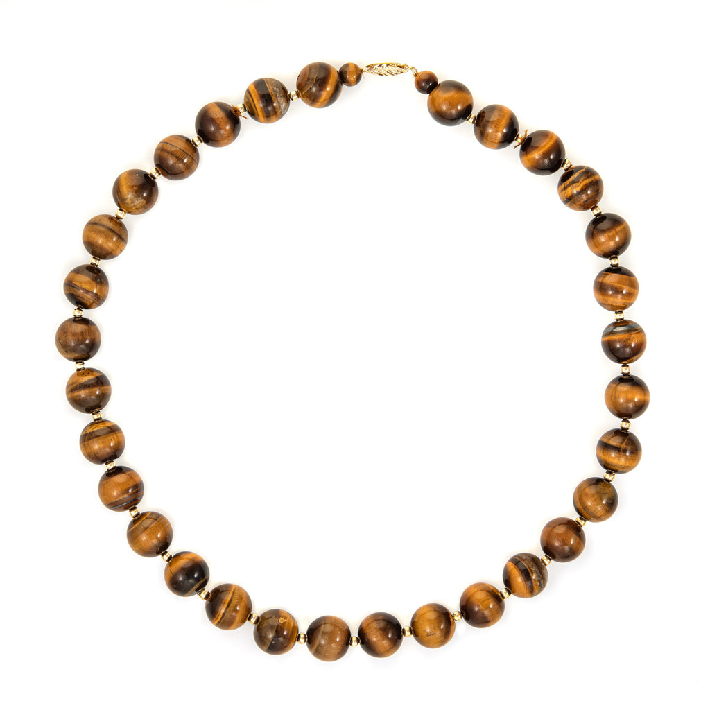 12mm Tigers Eye Bead Necklace 70s Vintage 14k Yellow Gold 18