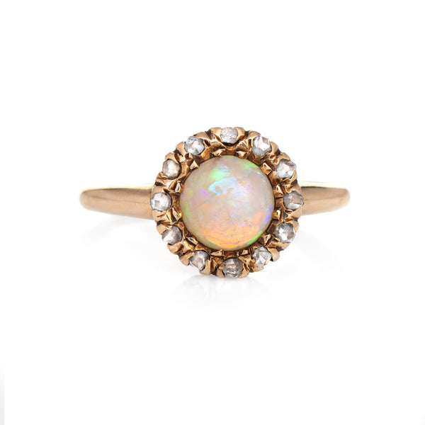 Antique Victorian Opal Rose Cut Diamond Ring Vintage 14k Yellow Gold Round Halo
