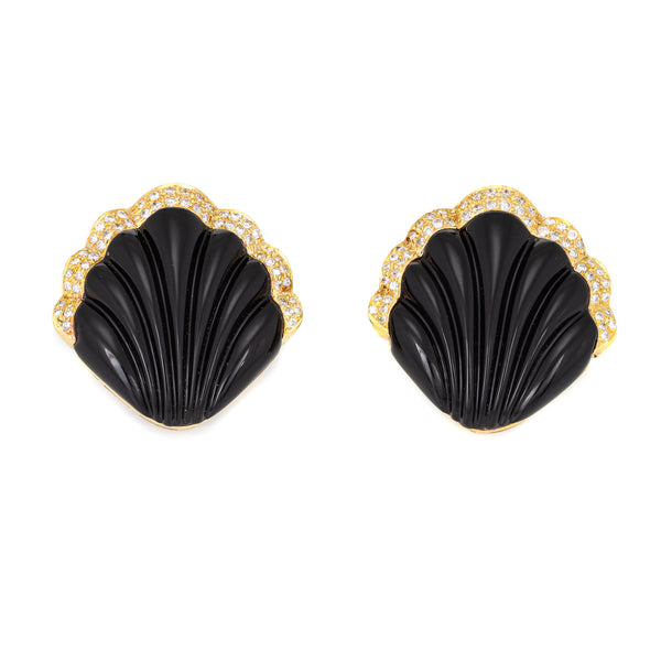 Fluted Onyx Diamond Shell Earrings Vintage 18k Yellow Gold Large Cocktail