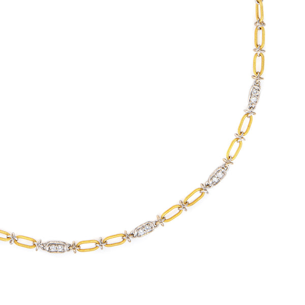 18k Gold Platinum Diamond Link Chain 18