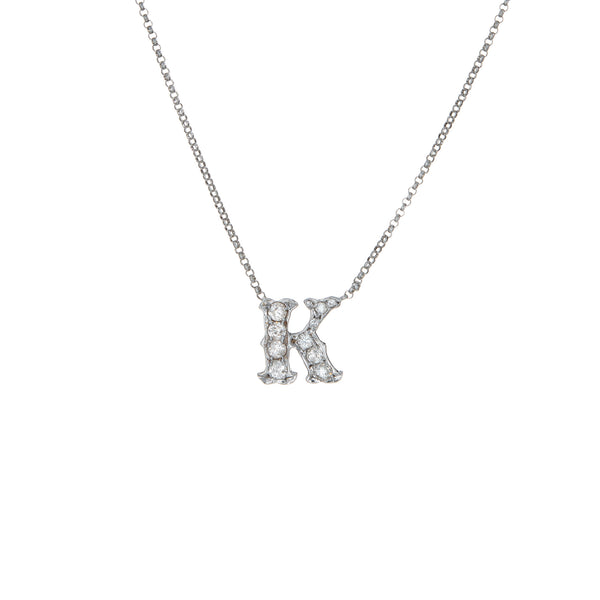 Letter K Diamond Initial Necklace Vintage 14k White Gold 17 Inch Chain Jewelry