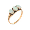 Antique Victorian Ostby Barton Three Stone Opal Ring 14k Yellow Gold Jewelry 6