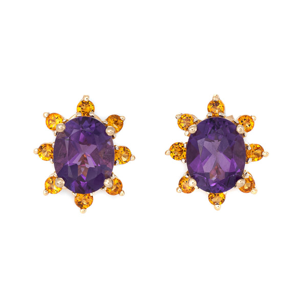 Amethyst Citrine Stud Earrings Vintage 14k Yellow Gold Oval Mixed Gemstones