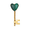 Hammerman Bros Malachite Heart Key Brooch Vintage 18k Yellow Gold Jewelry