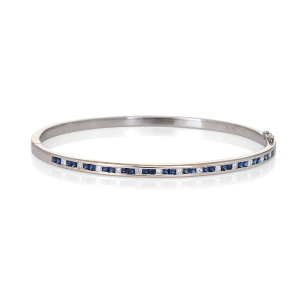 French Cut Sapphire Diamond Bangle Bracelet Estate 18k White Gold Fine Jewelry