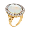 Large Natural Opal Diamond Ring Vintage 18k Yellow Gold Oval Cocktail Jewelry