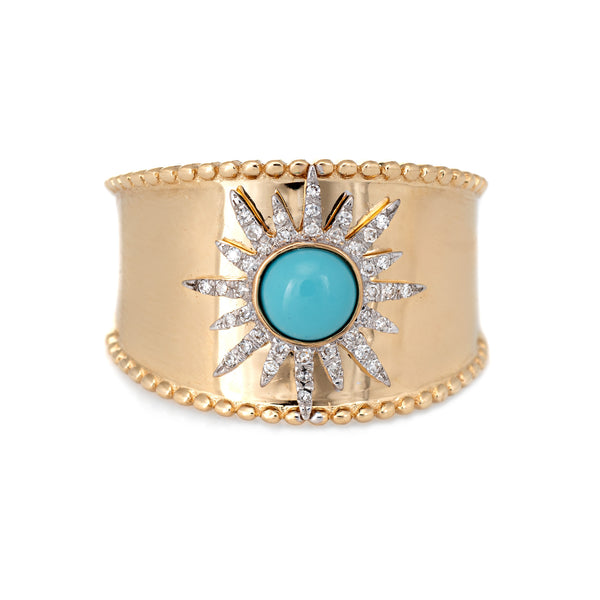 Turquoise Diamond Starburst Ring Wide Band 14k Yellow Gold Sz 6.75 Fine Jewelry