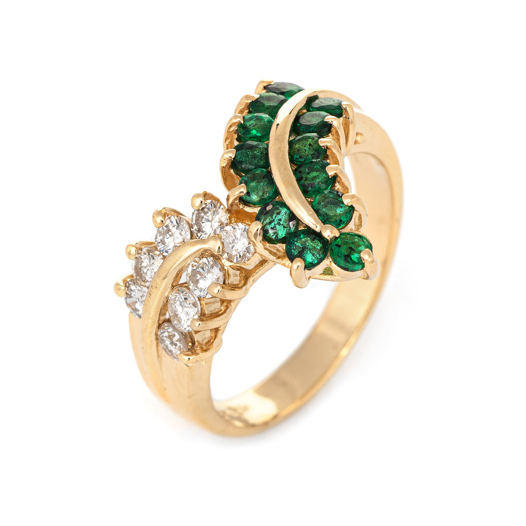 Emerald Diamond V Ring Vintage 80s 14k Yellow Gold Band Estate Fine Jewelry 6