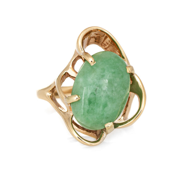 Vintage 70s Jade Ring 14k Yellow Gold Abstract Design Estate Fine Jewelry 6.5