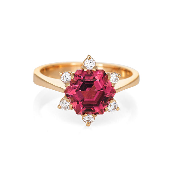 Hexagonal Pink Tourmaline Diamond Ring Vintage 18k Yellow Gold Estate Jewelry
