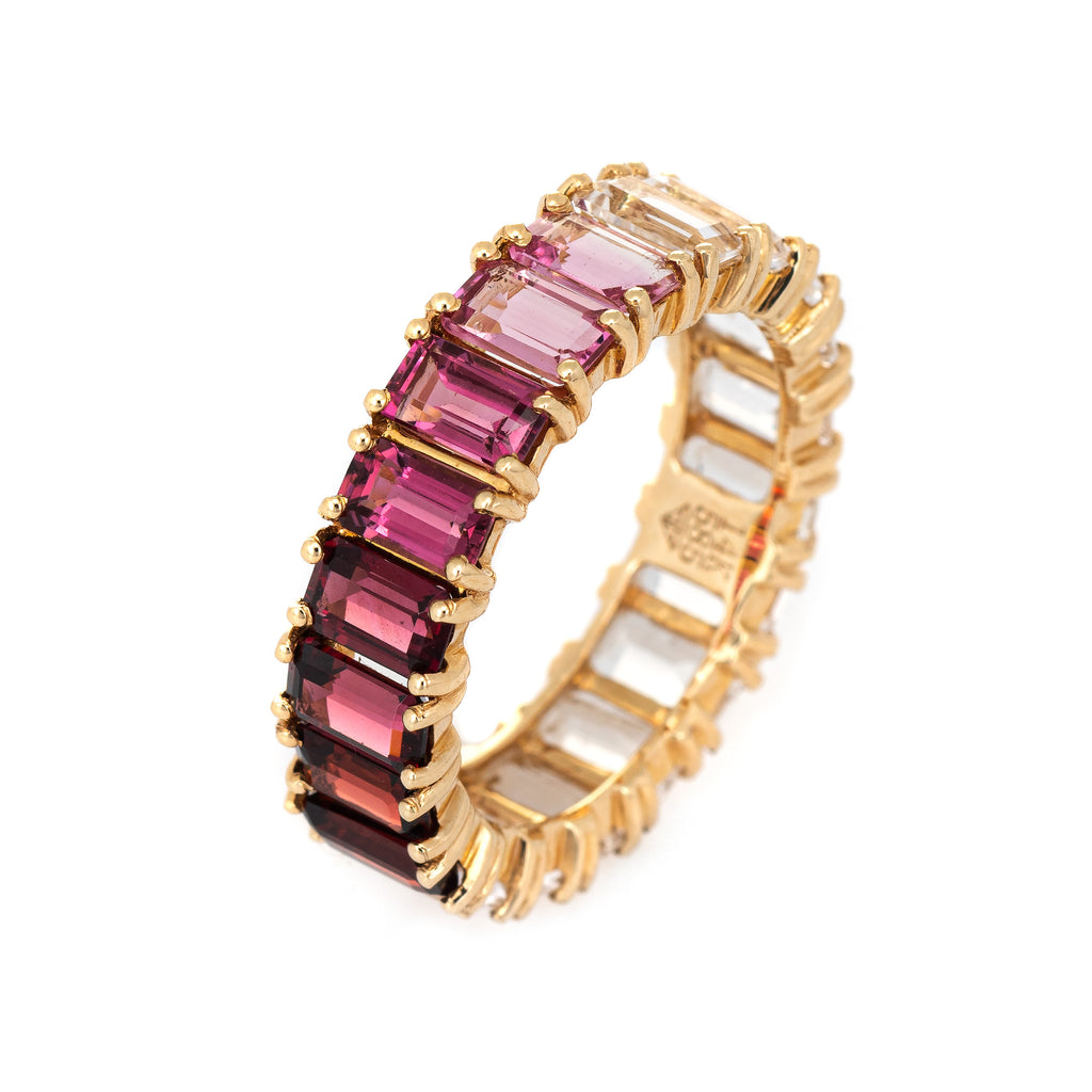 Rainbow Gemstone Eternity Ring Sz 6.5 14k Yellow Gold Jewelry Emerald Cuts