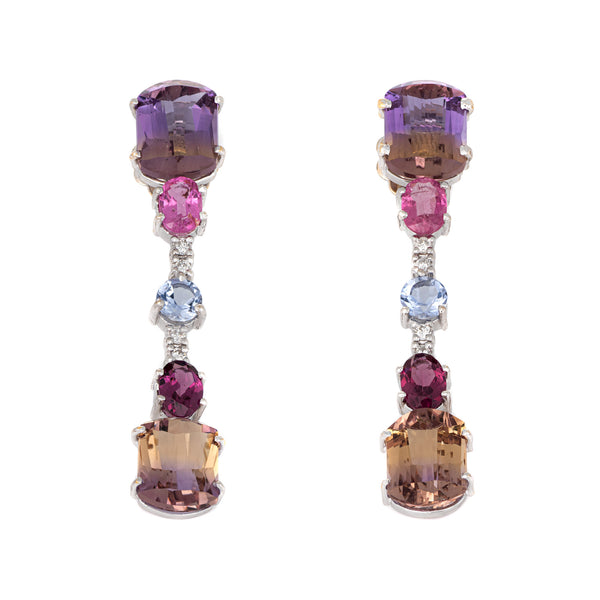 Gemstone Drop Earrings Estate 18k White Gold Ametrine Pink Tourmaline Diamond