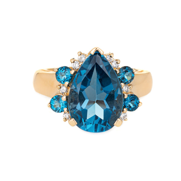 London Blue Topaz Diamond Ring Vintage 14k Yellow Gold Pear Cut Estate Jewelry