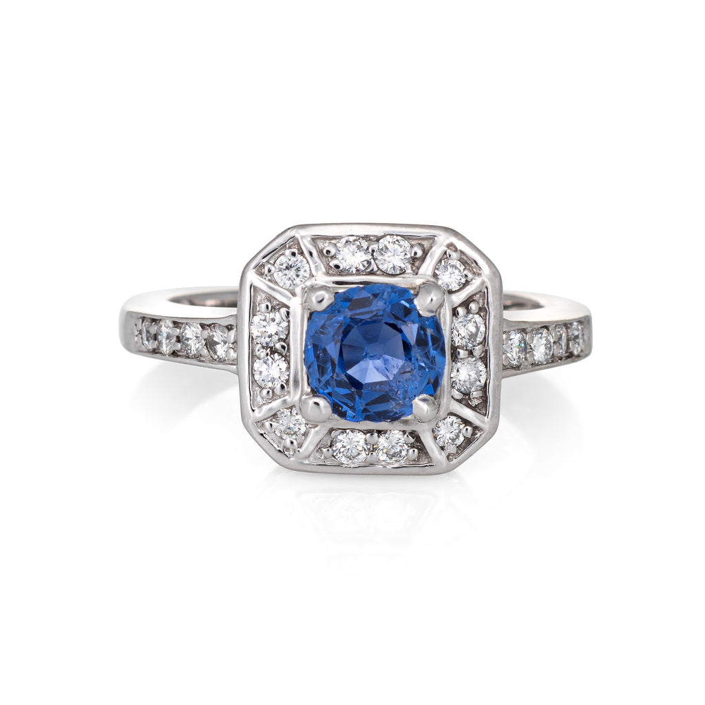 Natural Blue Sapphire Diamond Ring Estate 14k White Gold Square Halo Engagement