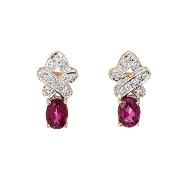 Pink Tourmaline Diamond Earrings Vintage 14k Yellow Gold Estate Jewelry Studs