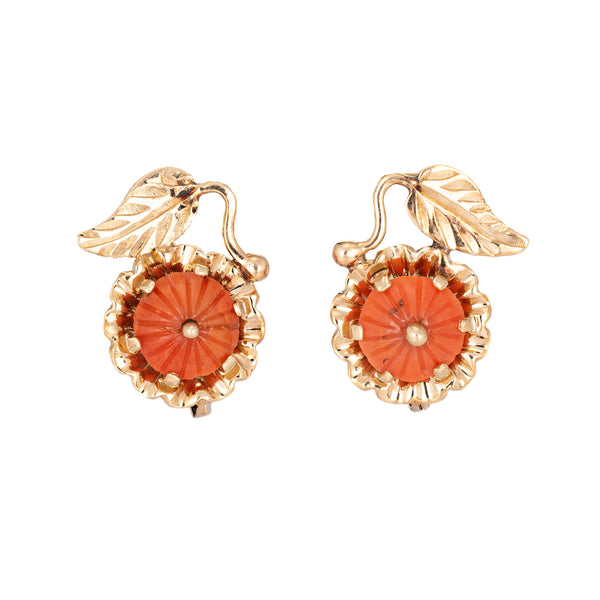 Vintage Coral Earrings 14k Yellow Gold Leaf Design Lever Backings Estate Jewelry