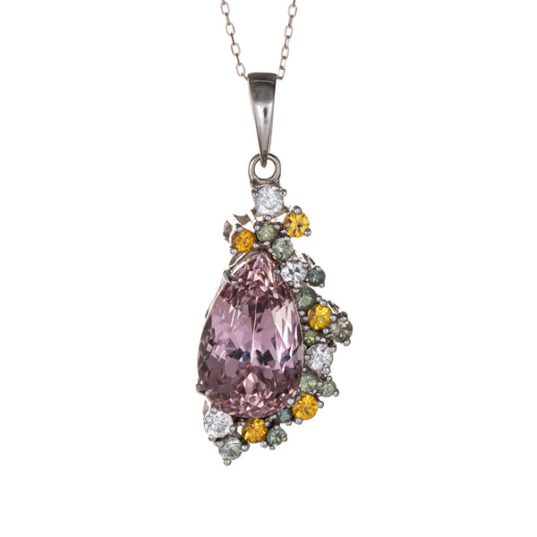 Morganite Mixed Gemstone Necklace Estate 14k White Gold Fine Jewelry Pastels
