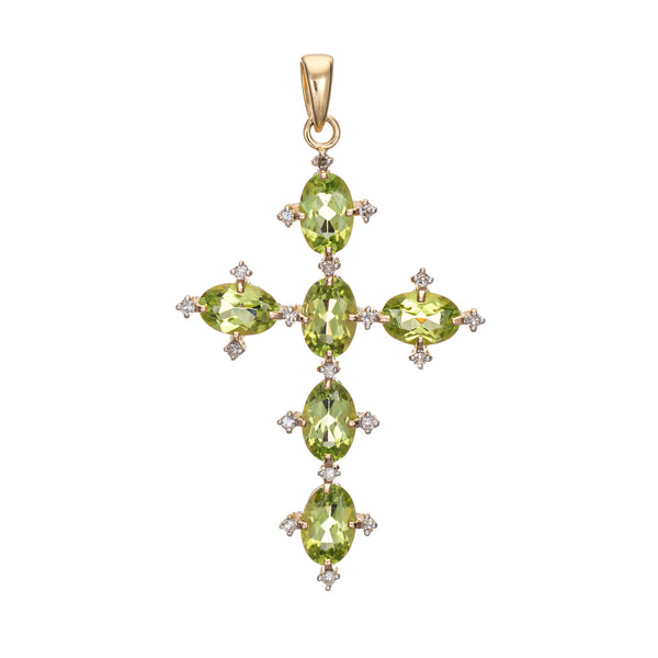 Peridot Diamond Cross Estate 14k Yellow Gold Vintage Fine Religious Jewelry