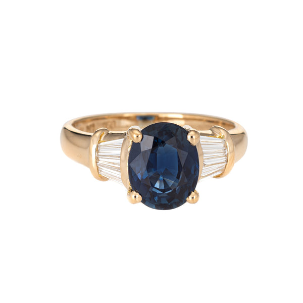 2.50ct Sapphire Diamond Gemstone Engagement Ring Vintage 18k Yellow Gold Jewelry
