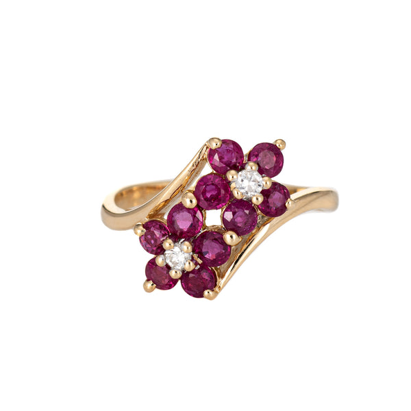 Ruby Diamond Double Flower Ring Moi et Toi 14k Yellow Gold Vintage Jewelry 4.5
