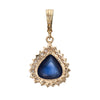 Natural 11.20ct Ceylon Sapphire Diamond Pendant Vintage 14k Yellow Gold Pear