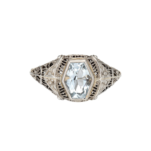 Vintage Deco Aquamarine Ring Antique 18k White Gold Filigree Estate Jewelry