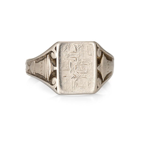 Vintage Art Deco Mens Signet Ring 14k White Gold Square Mount Antique Jewelry