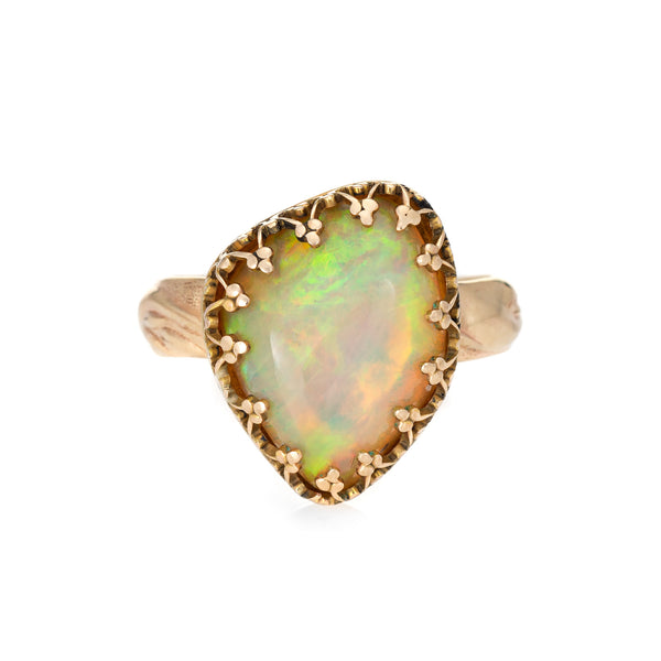 Ethiopian Natural Fire Opal Ring Estate 14k Yellow Gold Trefoil Crown Mount Sz 6
