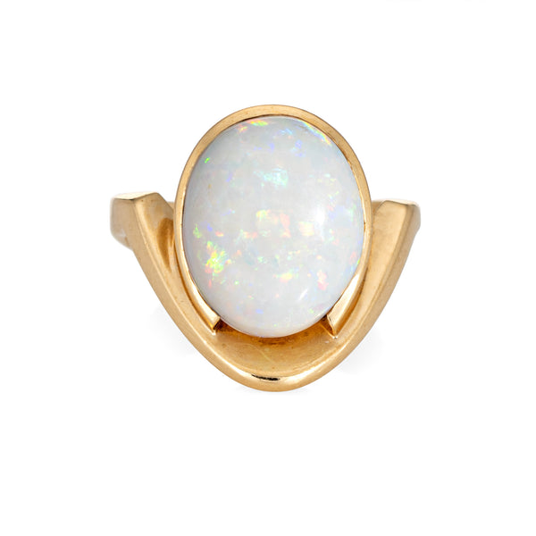 Vintage 70s Natural Opal Ring 14k Yellow Gold Abstract Design Sz 3 Pinky Jewelry