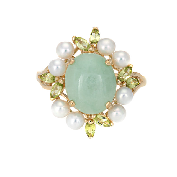 Jade Peridot Cultured Pearl Ring Estate 14k Yellow Gold Cocktail Jewelry Vintage