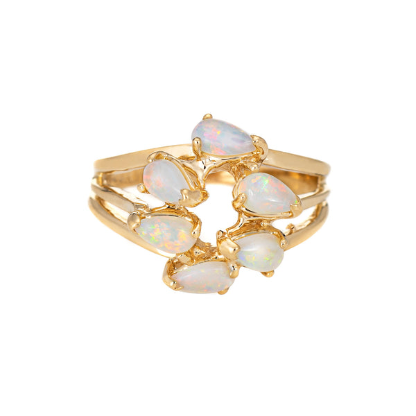 Opal Mosaic Ring Vintage 14k Yellow Gold Sz 6.5 Estate Fine Jewelry Pear Cut