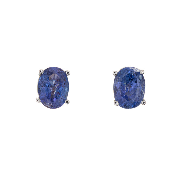 3ct Tanzanite Stud Earrings Estate 14k White Gold Oval Faceted Fine Jewelry