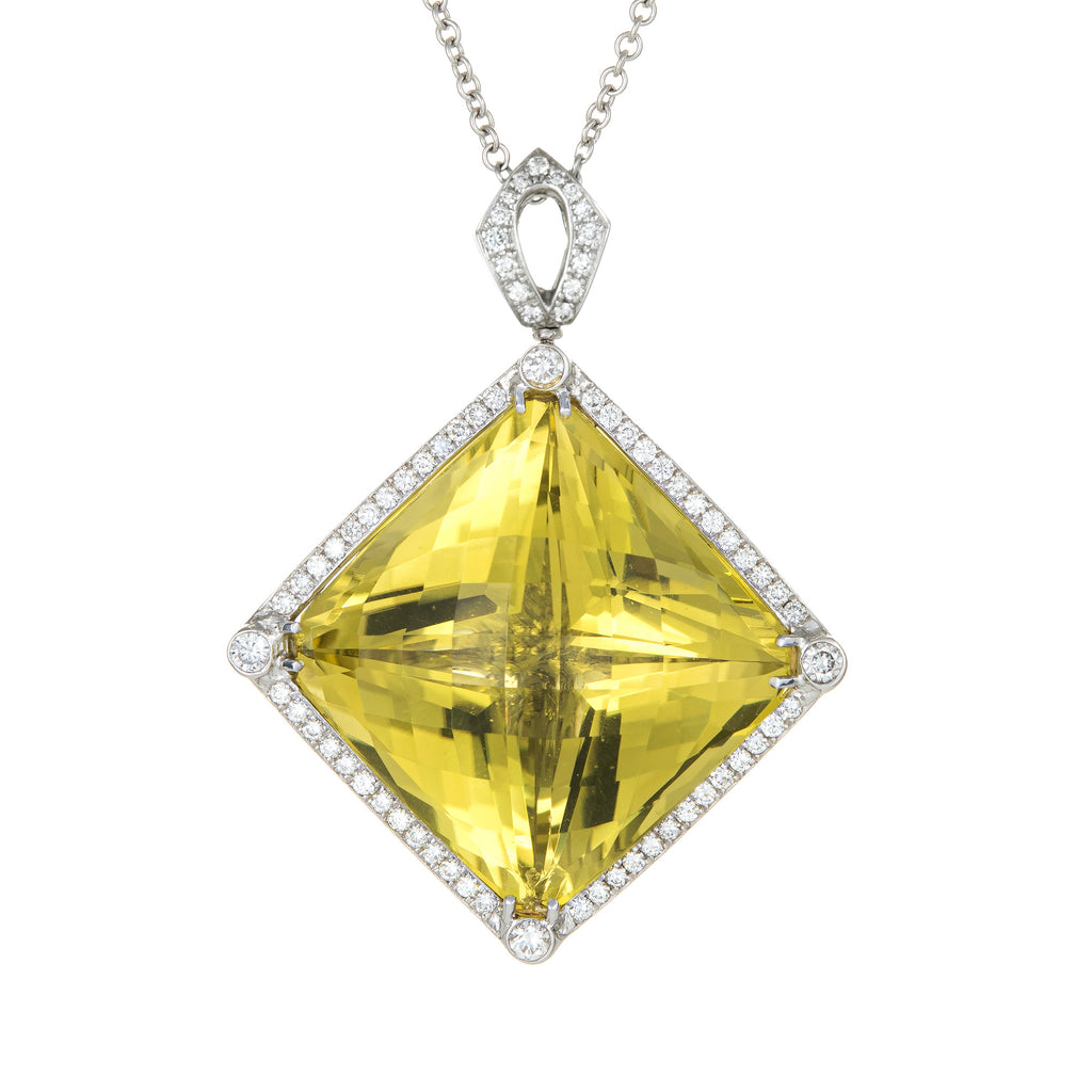 Huge 96ct Lemon Quartz Diamond Pendant 14k White Gold Estate Fine Jewelry