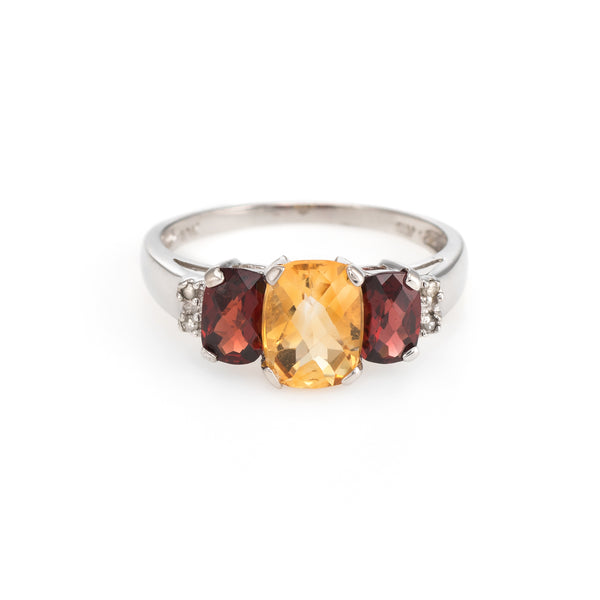 Citrine Garnet Diamond Ring Estate 10k White Gold Trilogy Vintage 3 Stone Band