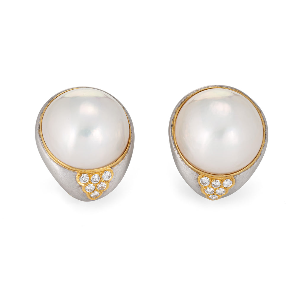 Large 21mm Mabe Pearl Diamond Earrings 18k Two Tone Gold Estate Fine Jewelry