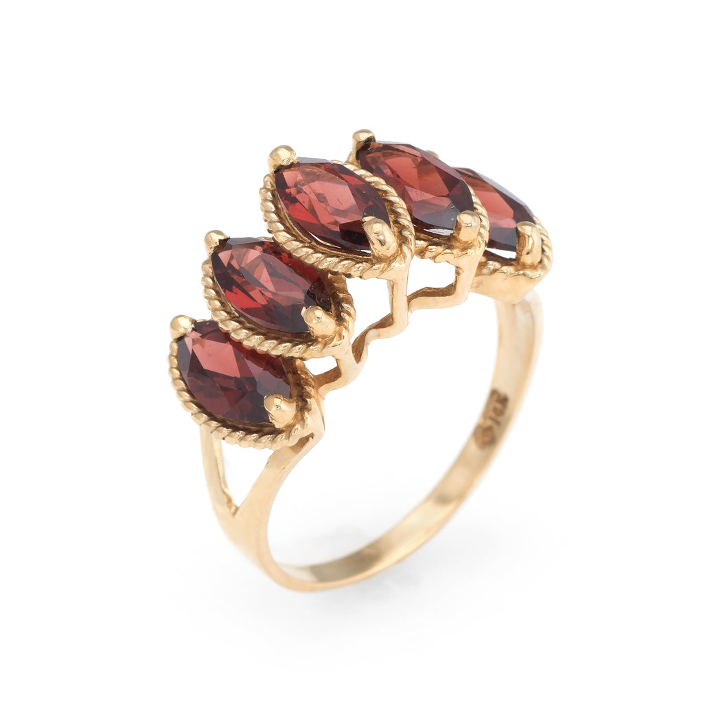 Vintage Garnet Ring Graduated 14k Yellow Gold Marquise Cut Estate Fine Jewelry