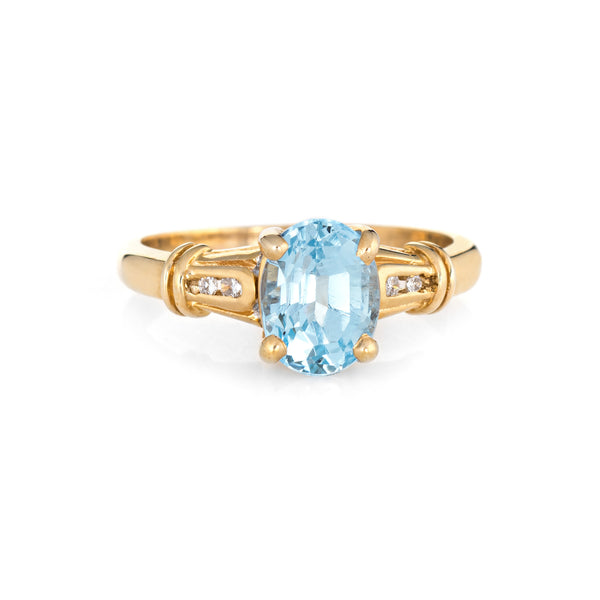 Blue Topaz Diamond Ring Vintage 14k Yellow Gold Small Cocktail Jewelry Sz 5.5