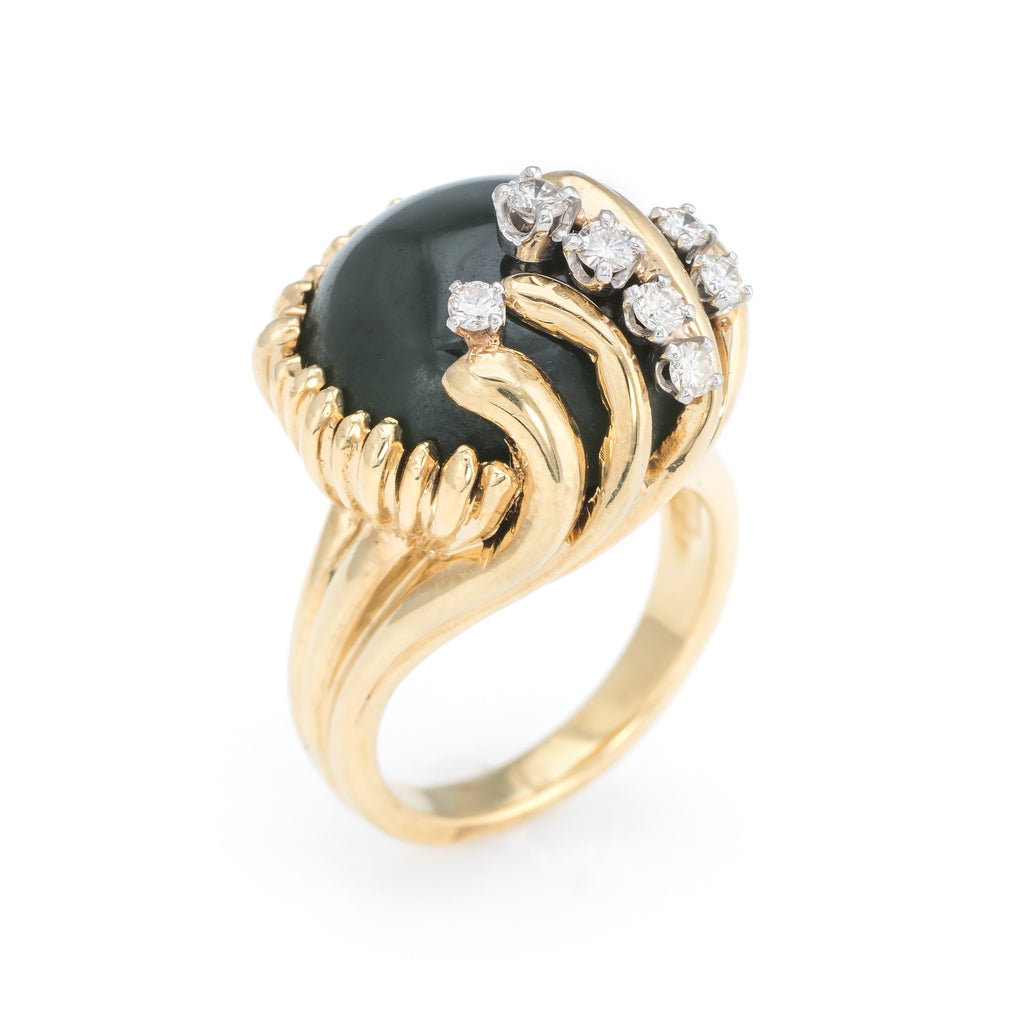 Vintage Jade Diamond Ring 18k Yellow Gold Cocktail Estate Fine Jewelry Sz 6